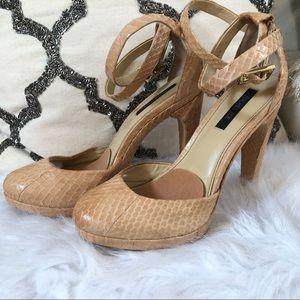 Rachel Zoe snake skin nude heels